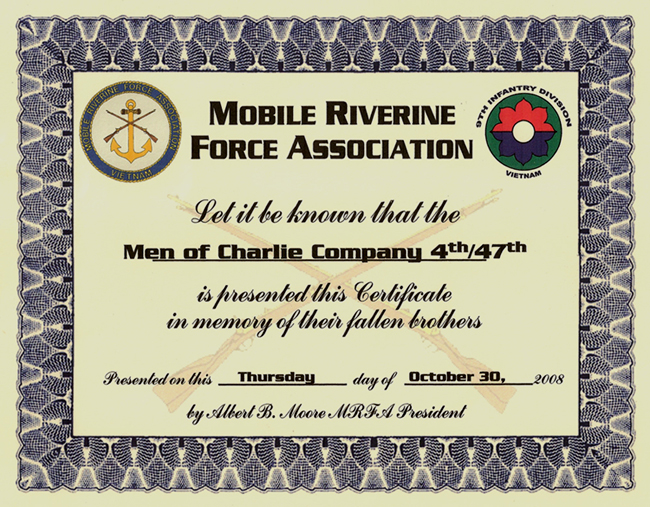 Charlie Co Certificate